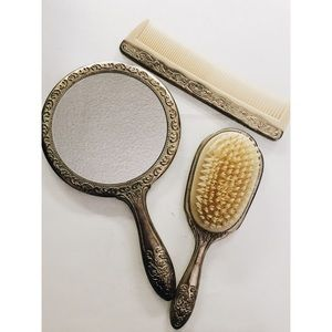 Vintage Vanity Set with Brush, Mirror and Comb